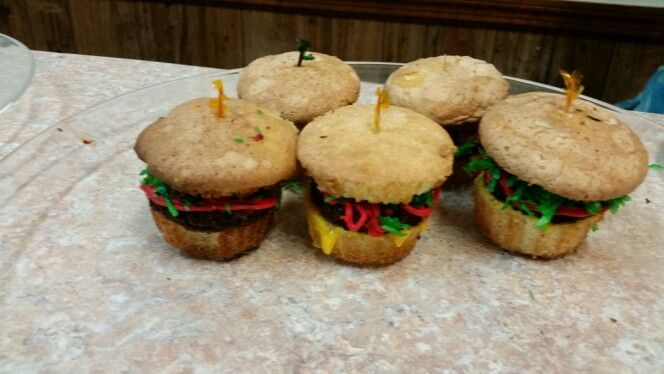 Hamburger cupcakes for Labor Day