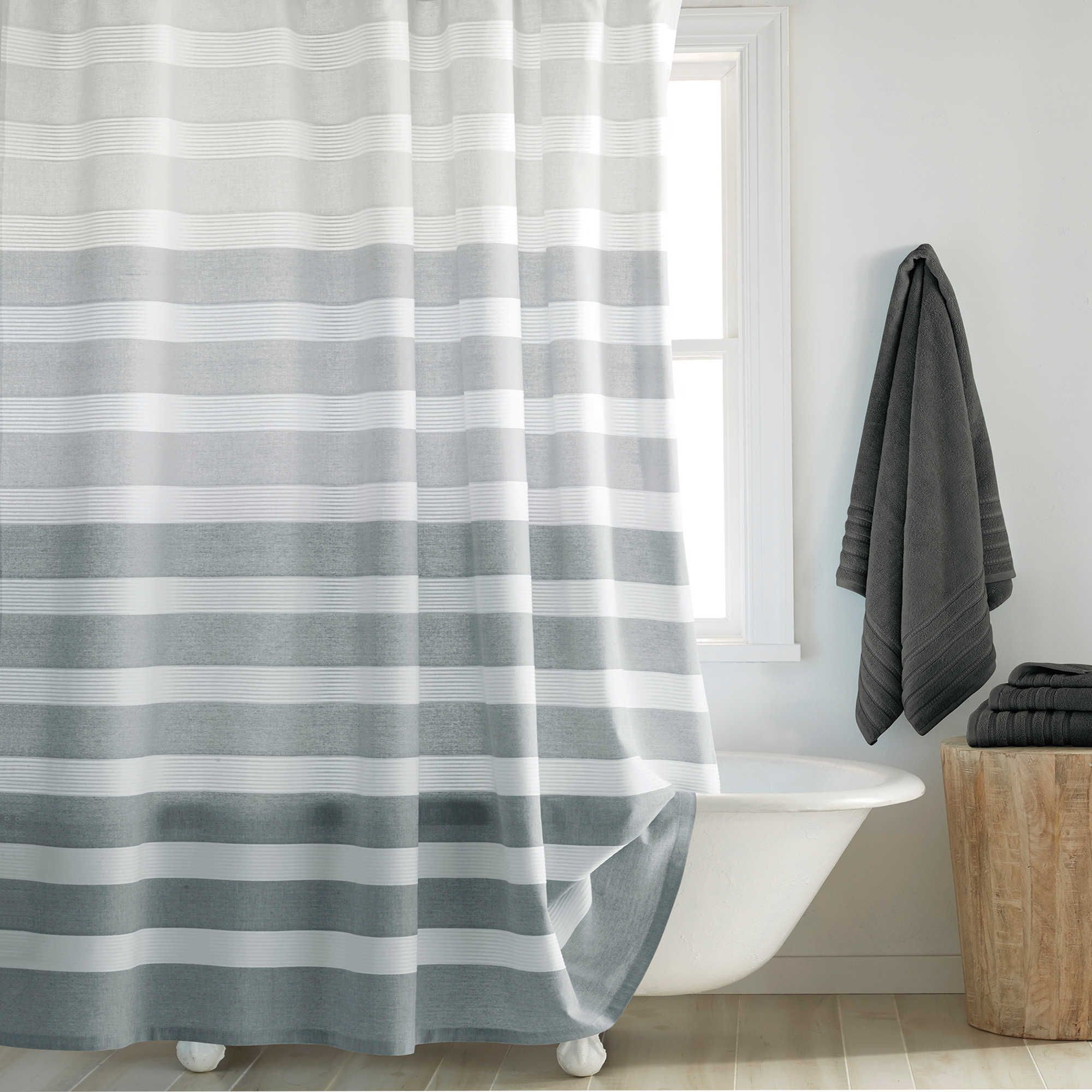 Dkny Highline Stripe Shower Curtain Long Shower Curtains Gray