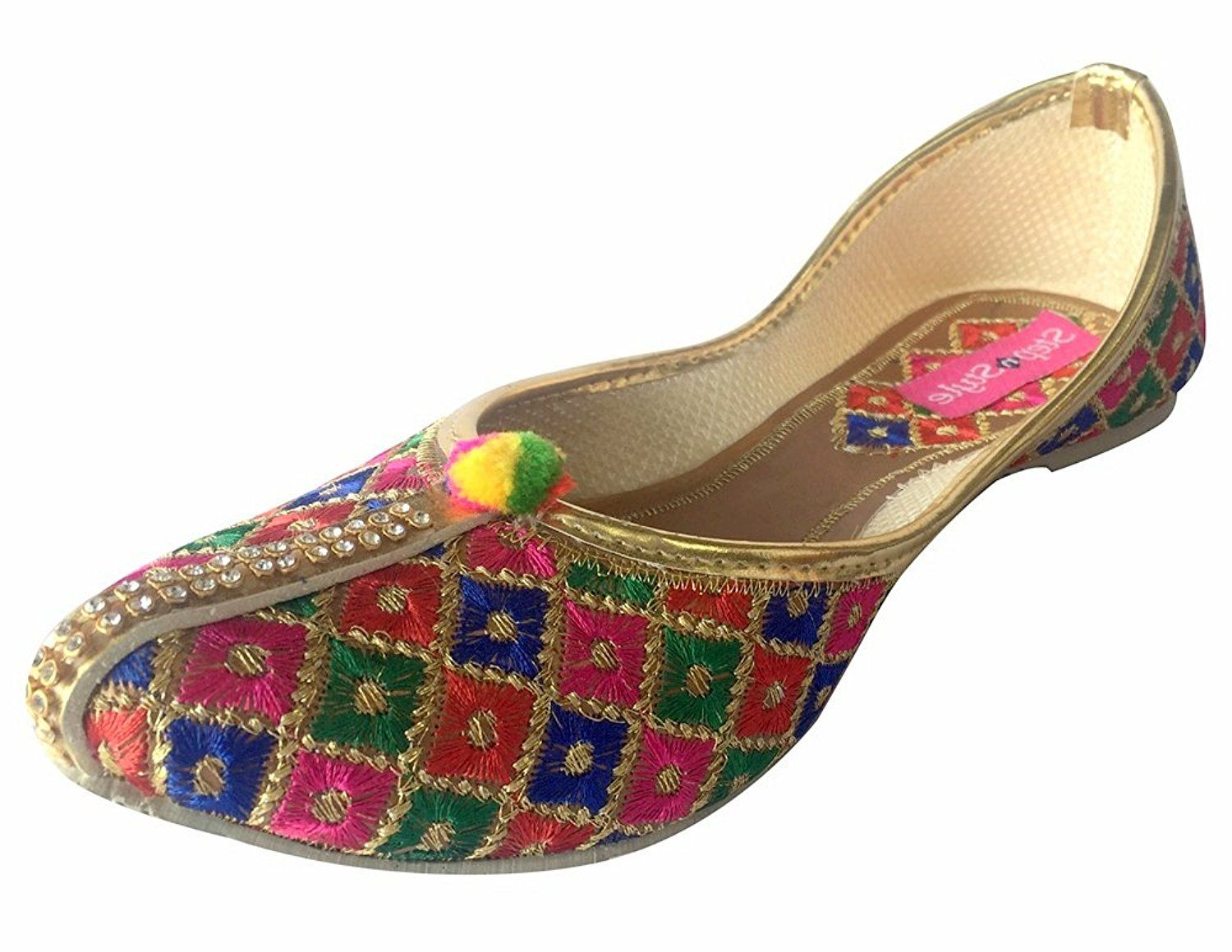 0861d73320d Step n Style Traditional Jutti Punjabi Indian Shoes Gold Salwar ...