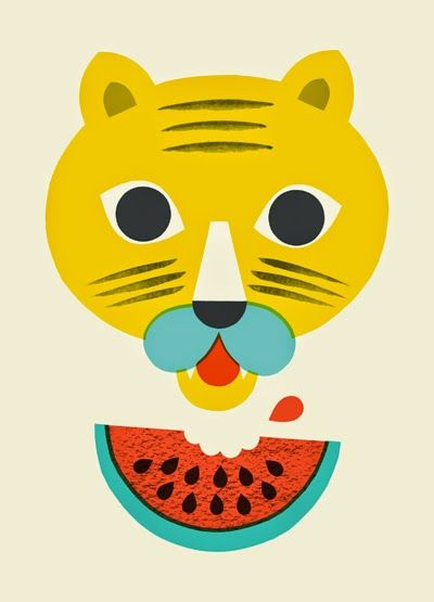 tiger spiser vandmelon