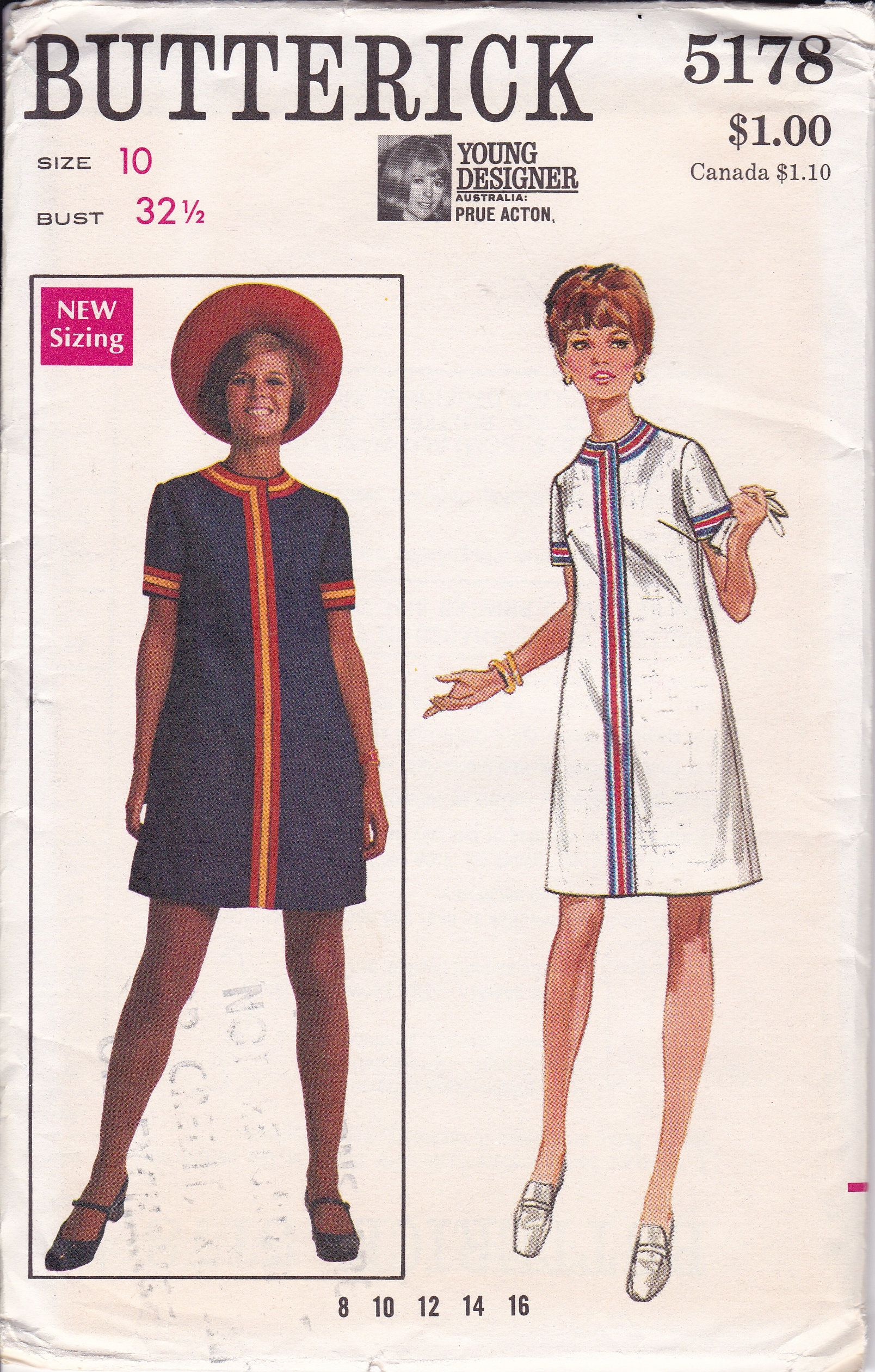 FREE US SHIP Sewing Pattern Butterick 5178 Vintage Retro 1960s 60s S ...