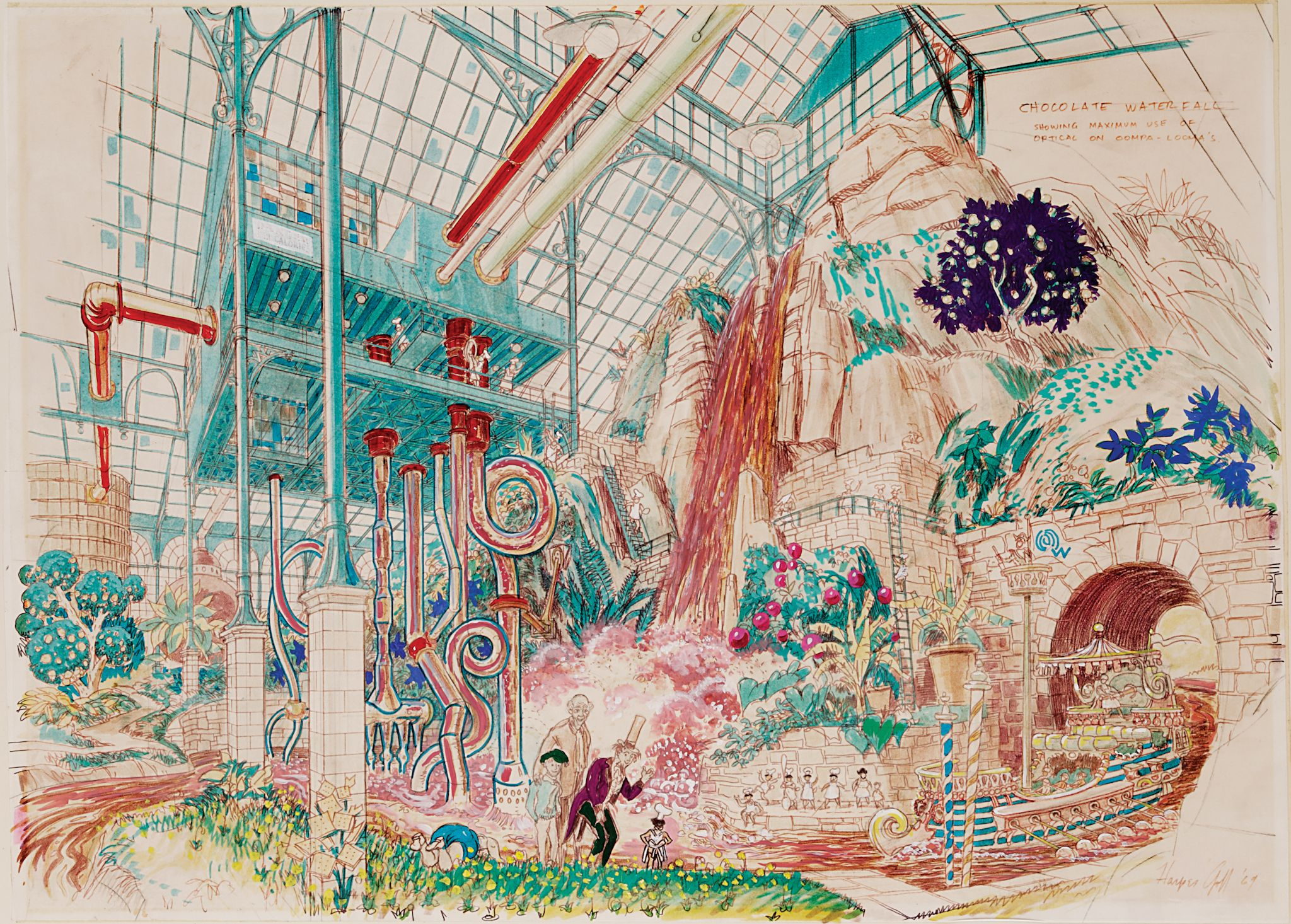 Concept Drawing of the Chocolate Room from Willy Wonka and The ...