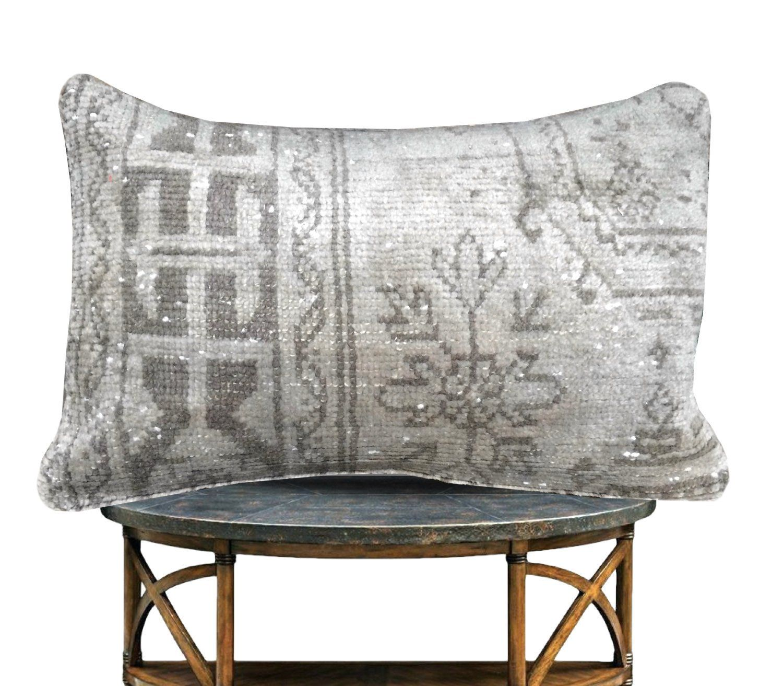 Floral Gray Vintage Kilim pillow -16x24 -Decorative Lumbar Pillow -Farmhouse Throw Pillow Cover -Wool Cushion Cover -Turkish Rug Pillow Case