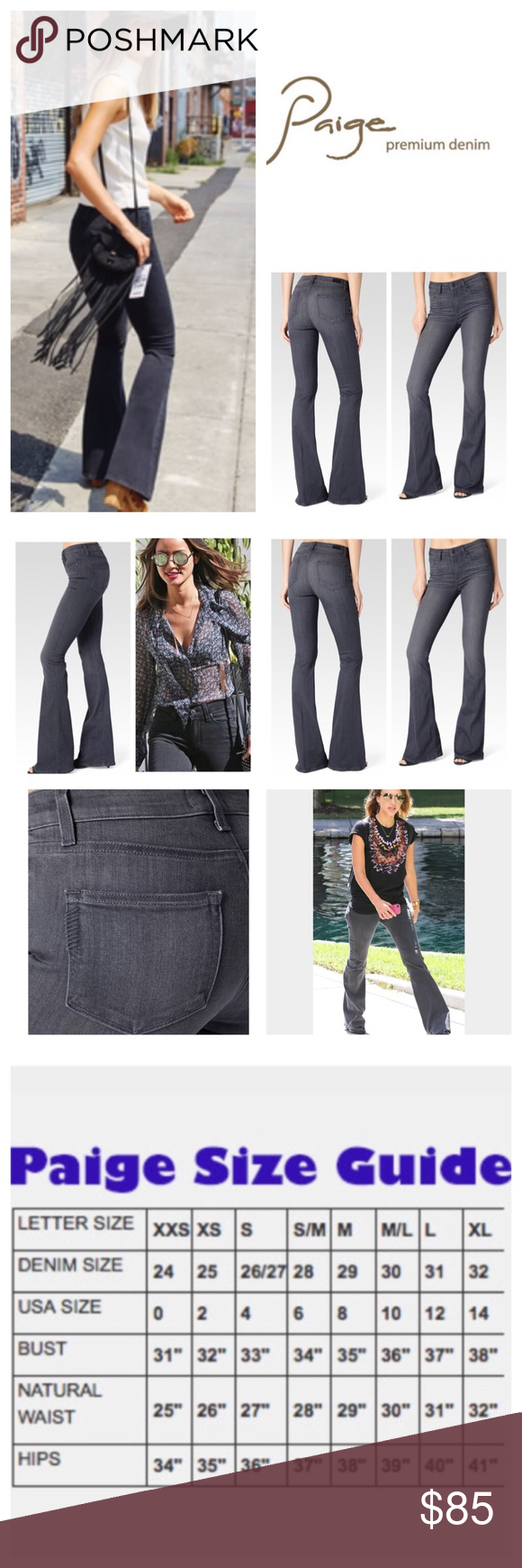 """Paige Gray High Rise Bell Canyon Jeans.  NWT. Paige Luna Gray High Rise  Bell Canyon Jeans, 54% rayon, 23% cotton, 22% polyester, 1% spandex, machine washable, 29"""" waist, 8.5"""" front rise, 14"""" back rise, 35.5"""" inseam, 21"""" leg opening (all around), five pockets, fading, whiskering, belt loops, zip fly button front closure, Paige signature leather patch and emblem on back, measurements are approx.  NO TRADES Paige Jeans Jeans Flare & Wide Leg"""