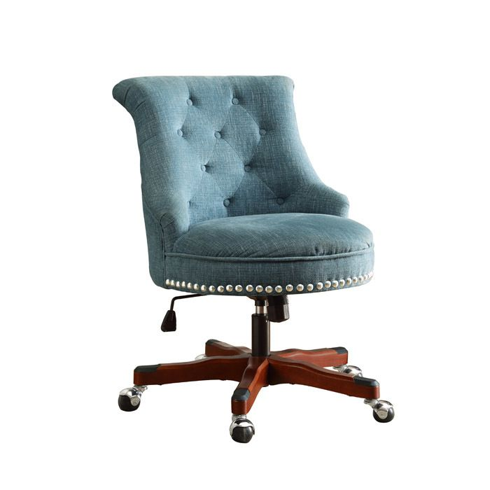 Tufted Desk Chair Classroom Organization Sinclair Fabric Upholstered Nail Head Accented Button Office With Wood Base And Metal Casters