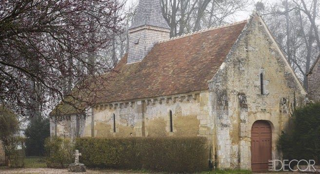 """""""The 11th-century chapel on the property includes a steeple covered in chestnut tiles."""" Chapel on the grounds of Chateau d'Ailly in Calvado..."""