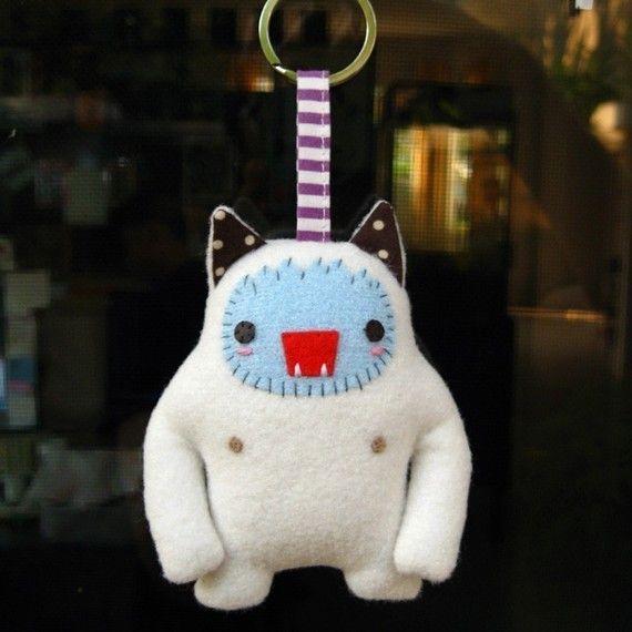Little textile creatures - Yeti Cat by mochikaka on Etsy