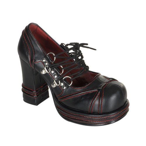 1dd420a59bc6 Demonia Vampire 03 Product Information D-ring lace-up platform shoes with  chunky heel. Black veggie leather - in solid black or black with red  stitching.