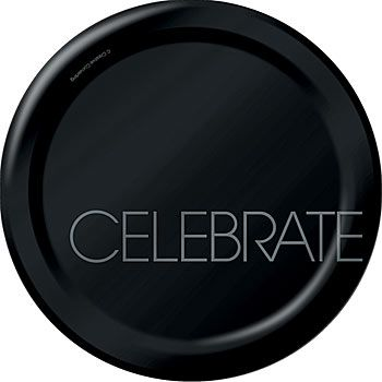 Use these Classic Celebrations Dessert Plates featuring the word CELEBRATE on a solid black background to give an elegant look to your party tabletops.