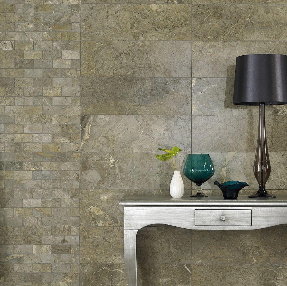 Elite Java Grey Marble Tiles With Brick Mosaics