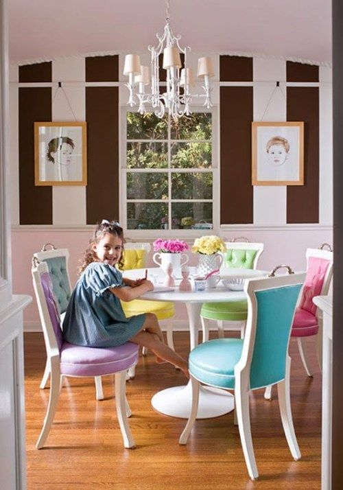 Colorful Dining Room Chairs - I could make colorful pillows for each of our chairs. & Colorful Dining Room Chairs - I could make colorful pillows for each ...
