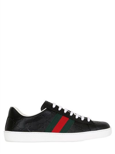 d853b550f35d GUCCI WEB GG GUCCISSIMA LEATHER SNEAKERS