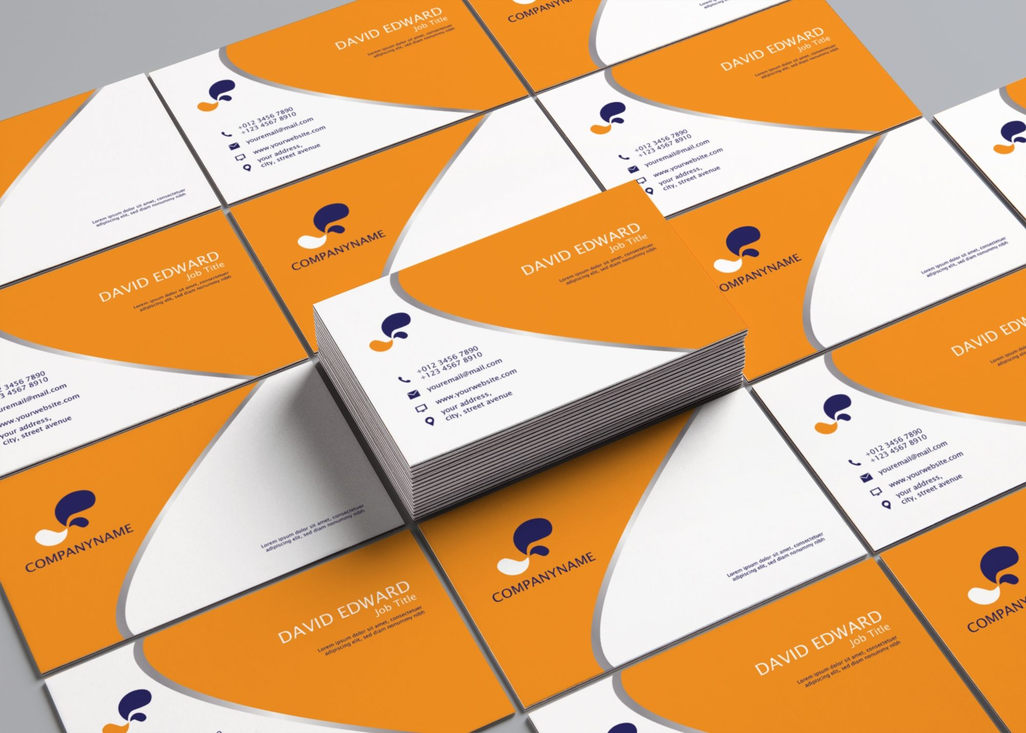 Business Card Orange And White Cards Visit Carte De Visite