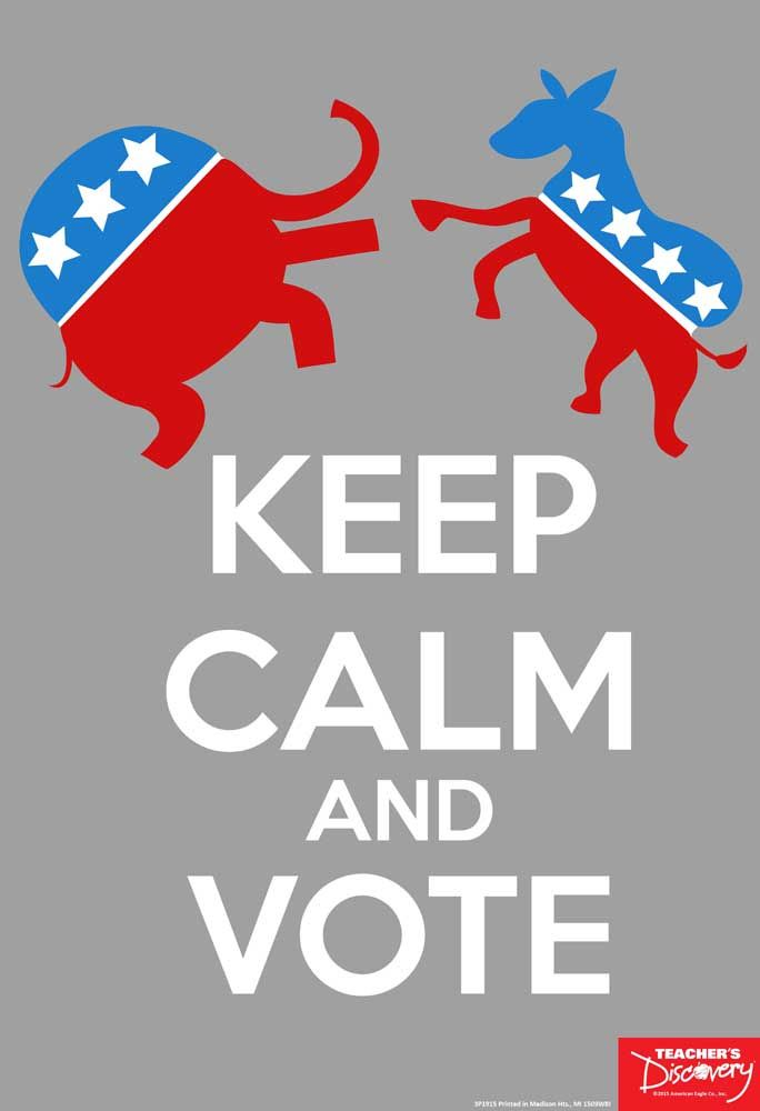 Keep Calm and Vote Mini-Poster: Teacher's Discovery  #election #US #vote