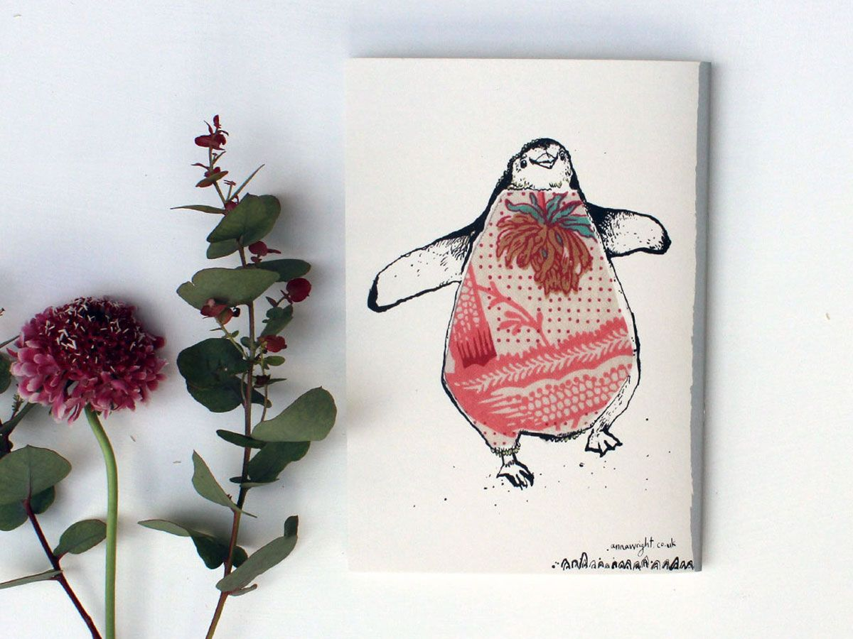 Back cover of the penguin scribblebook by Anna Wright. 30 blank pages to fill with notes, sketches and scribbles. Made in Britain.  https://annawright.co.uk/cards/notebooks/penguin-scribblebook.html