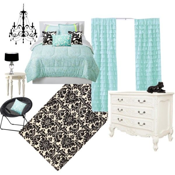Aqua Black And White Bedroom I Love The Way That They Put This All Together Just Would Rather Have A Dresser But Chandelier Idea