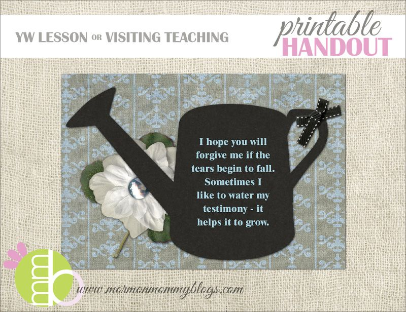 Water your Testimony Free LDS Handout Mormon Mommy