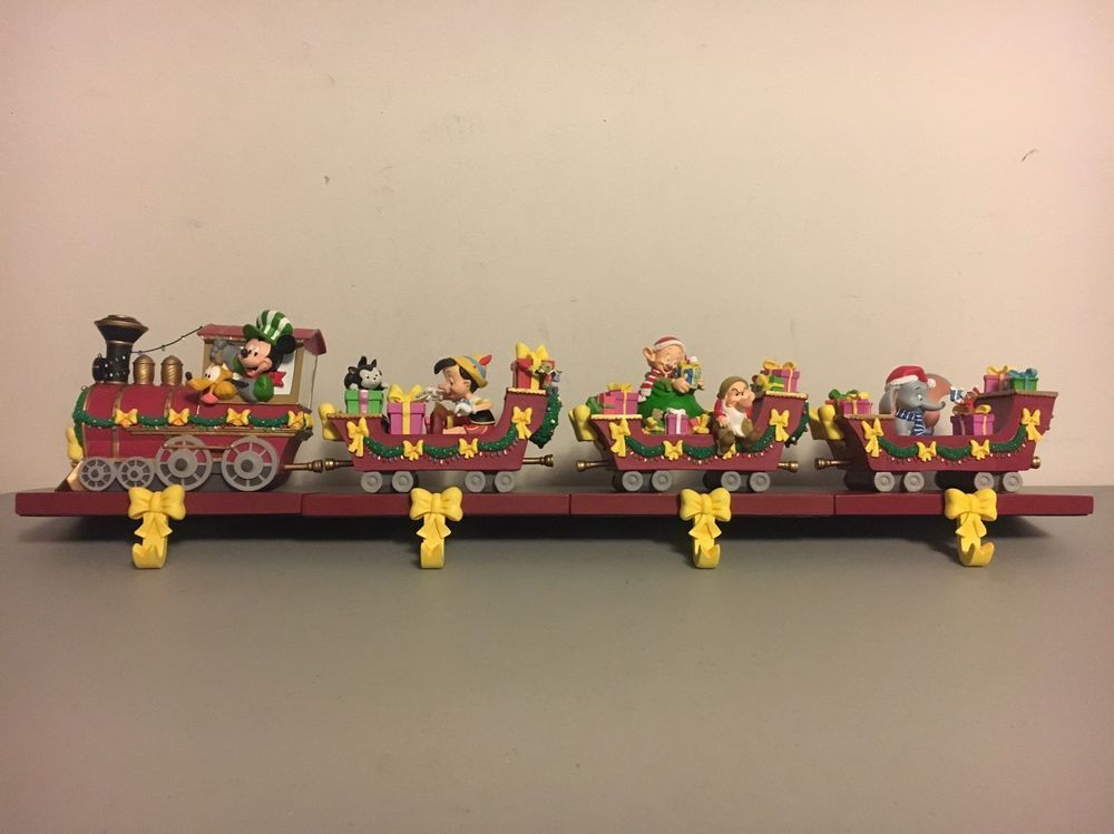 disney christmas train stocking holders hangers mickey dumbo dwarfs pinocchio ebay - Disney Christmas Train