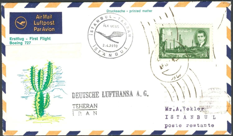 Germany, Flugpost 02.04.1970 , Lufthansa-Erstflug Teheran/ Iran - Istanbul/Türkei, auf diesem Rückflug wurden nur wenige Poststücke befördert (Sieger-Nr.605 B). Price Estimate (8/2016): 20 EUR.