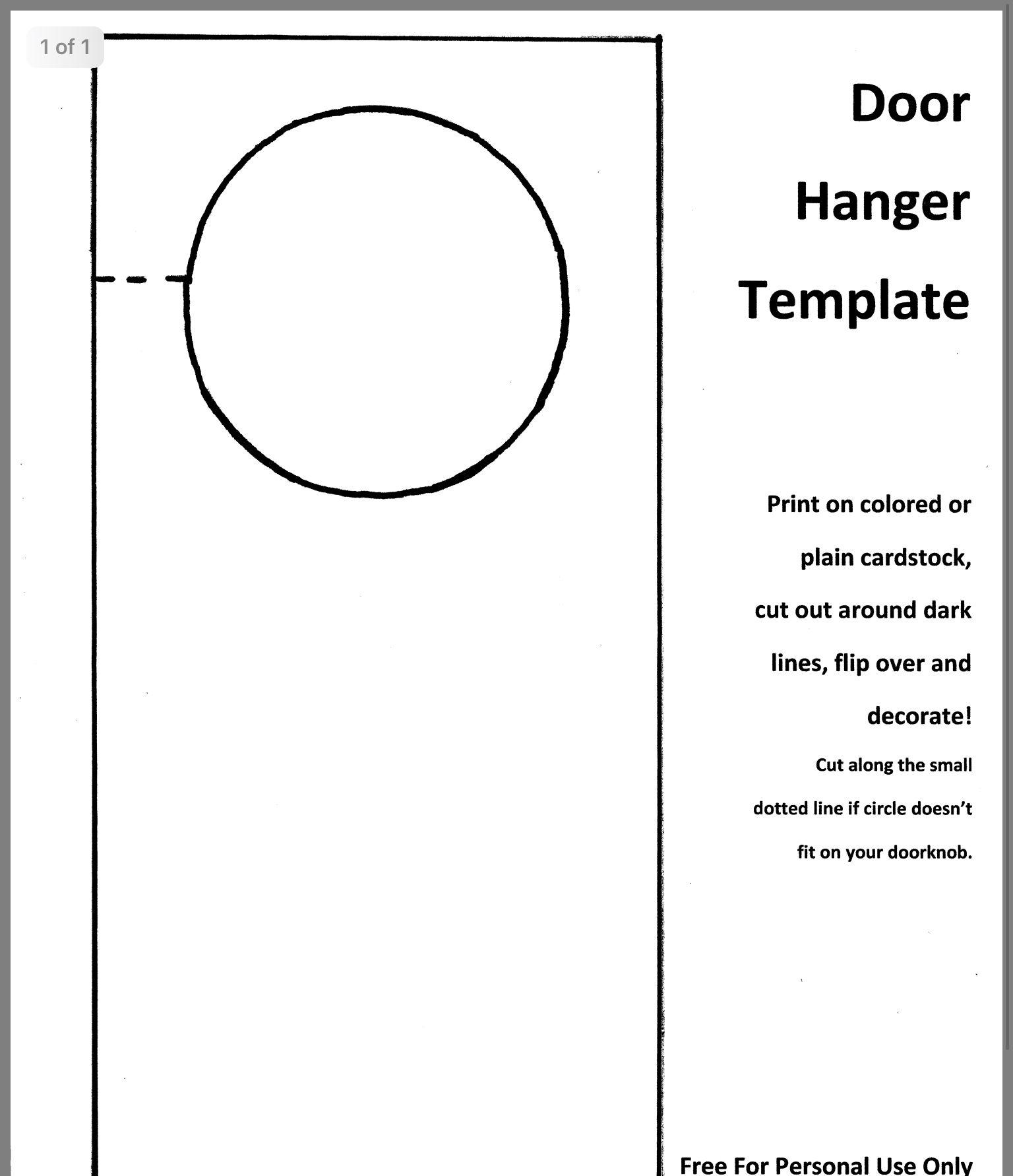 Pin By Chantelle Koronko On Thank You Cards Diy Door Hanger Template Doorknob Hangers Door Hangers