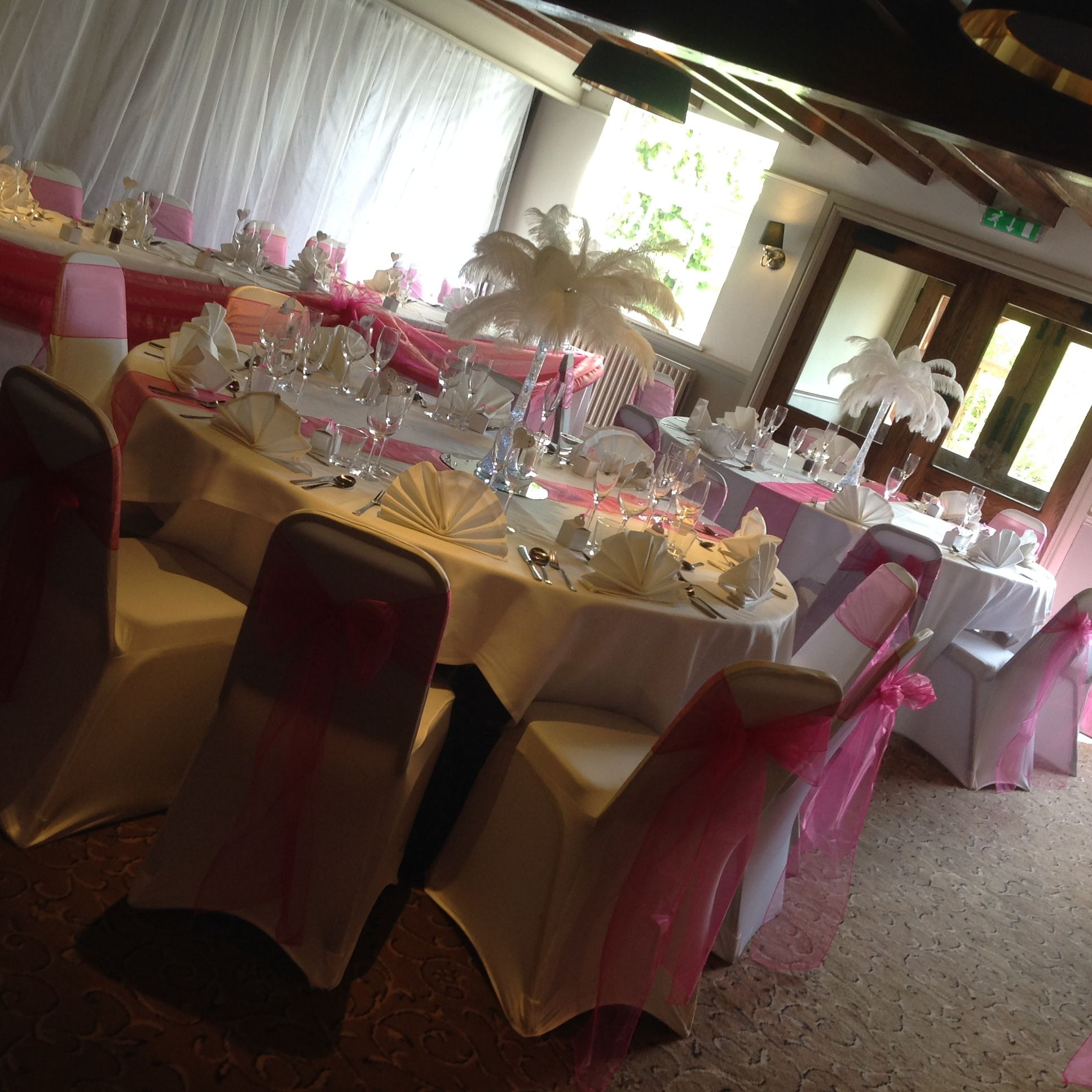 Chair Cover Hire Tamworth Chairish Feather Eiffel Tower Arrangements With Lights And Large Mirror Plate Hot Pink Fuchsia Sash Backdrop All Available To From Make It Special Events Atherstone Warwickshire