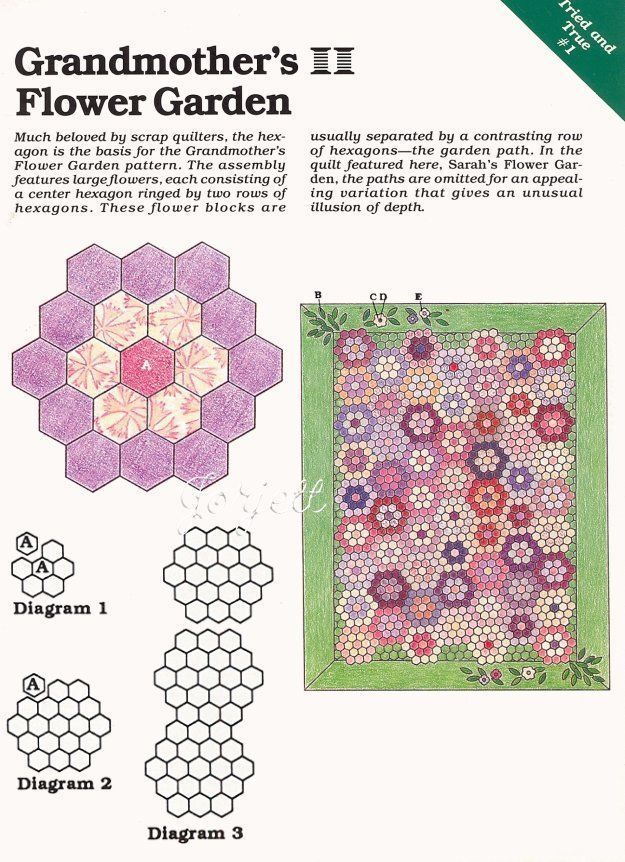 Grandmother's Flower Garden Quilt sewing pattern & templates ...