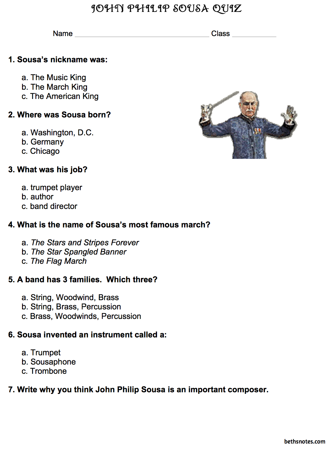 Worksheets Music Composer Worksheets john philip sousa quiz word search music teacher resources search