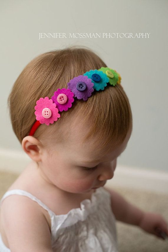 Rainbow button baby headband #babyhairaccessories
