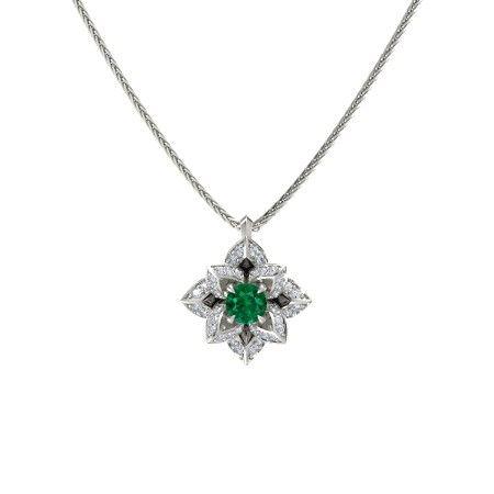 563584262c8293 Lotus Pendant - Round Emerald Platinum Pendant with Diamond in 2019 ...