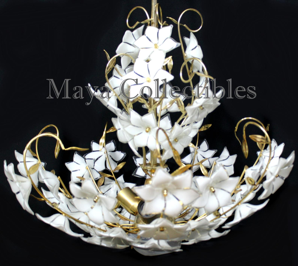 Murano Glass Chandelier Glass Flowers Italy Large Size Glass