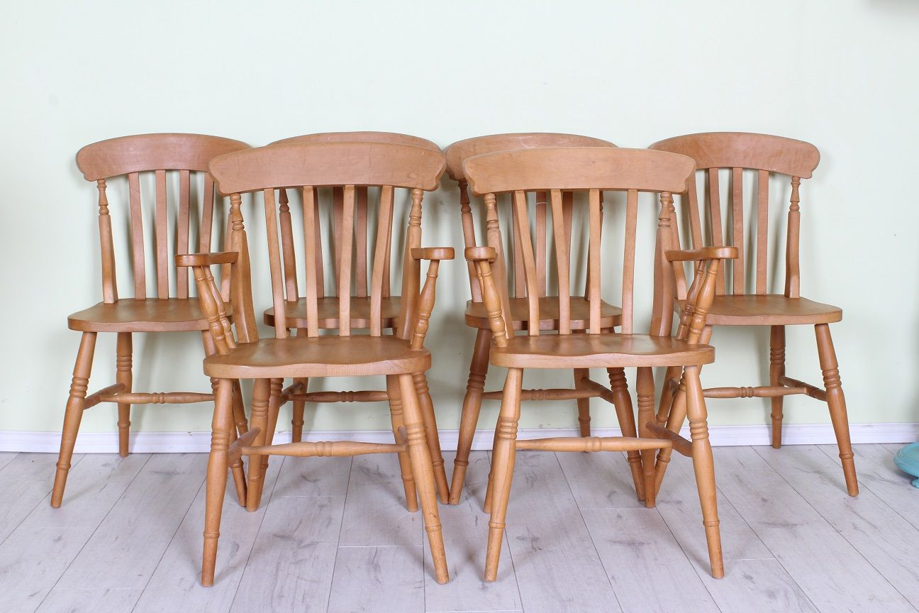 £200 set of 6 country farmhouse kitchen chairs solid beech including 2 carvers