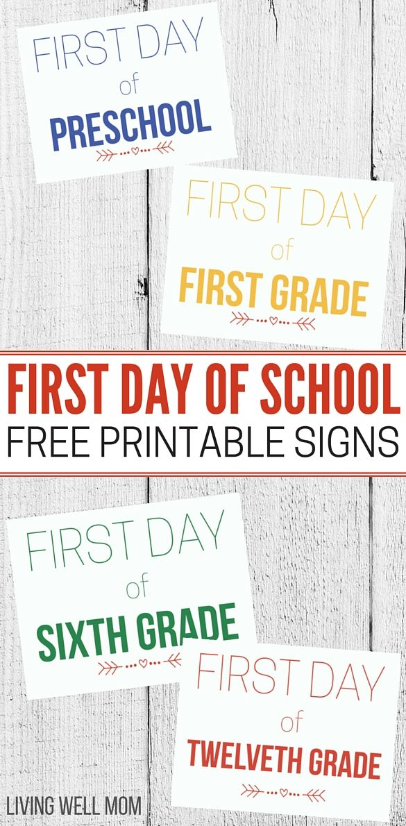 Free Printable First Day Of School Signs For All Grades 2019 2020
