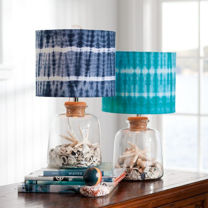 Bottle table lamp with tie dye design