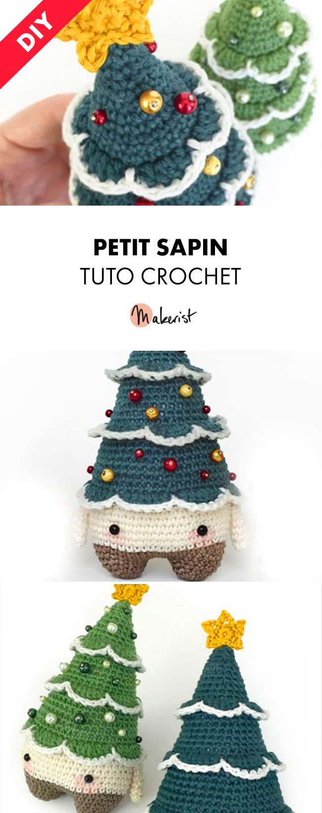 tuto crochet petit sapin de no l crocheter via. Black Bedroom Furniture Sets. Home Design Ideas