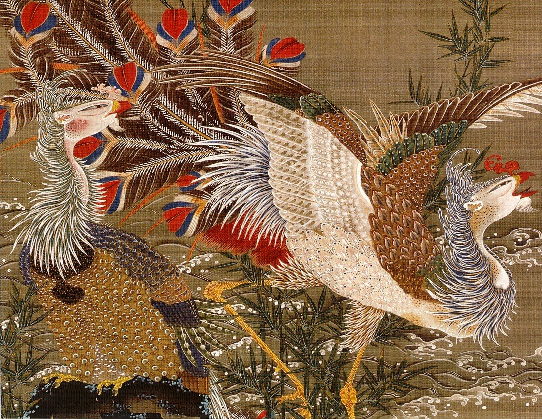 by 伊藤若冲(1716-1800)Jakuchu Ito 旭日鳳凰図 Phoenixes and the ...