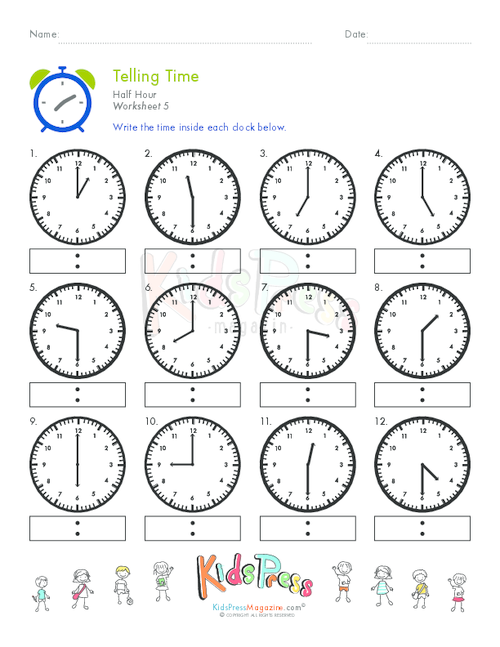 Worksheets Telling Time To The Hour And Half Hour Worksheets time worksheets telling on the hour free to half