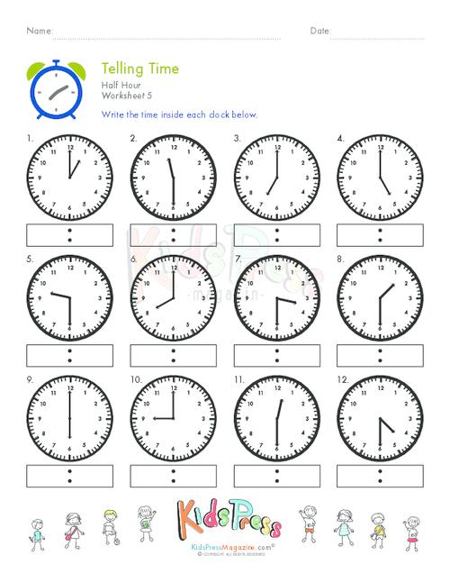 telling time half hour worksheet 5 school math telling time clock worksheets teacher. Black Bedroom Furniture Sets. Home Design Ideas