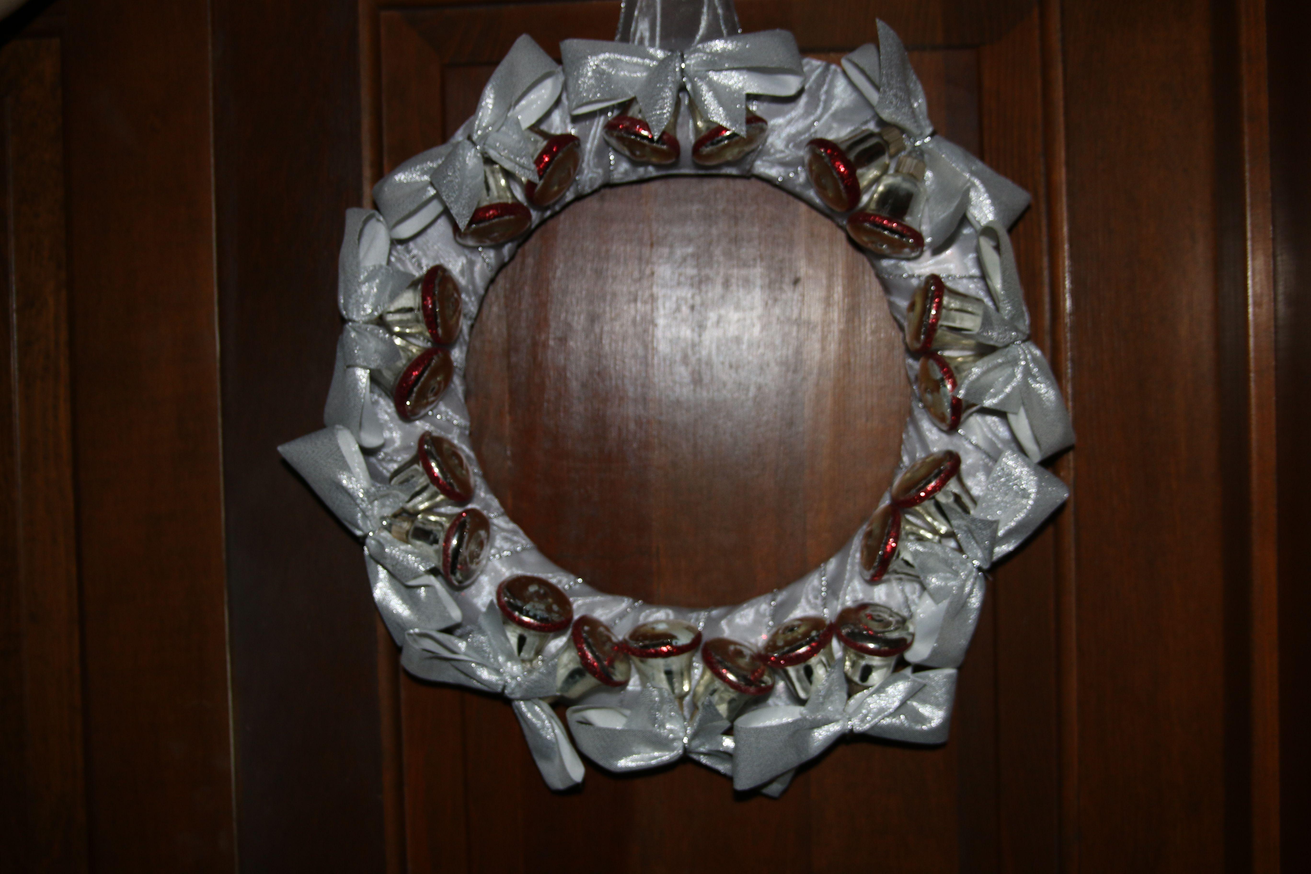 Bell Decor Handbells Silver Bells Wreath  Winter Decor  Silver Bell Wreath