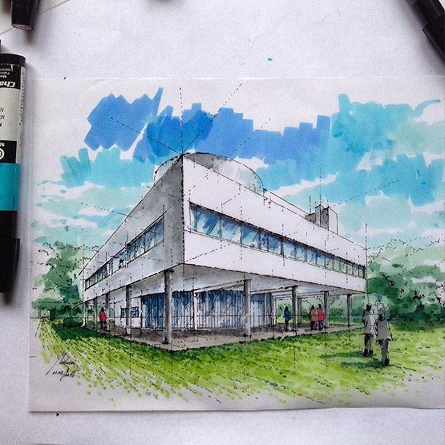 Artist Mutonisketches Villa Savoye Villasavoye Lecorbusier
