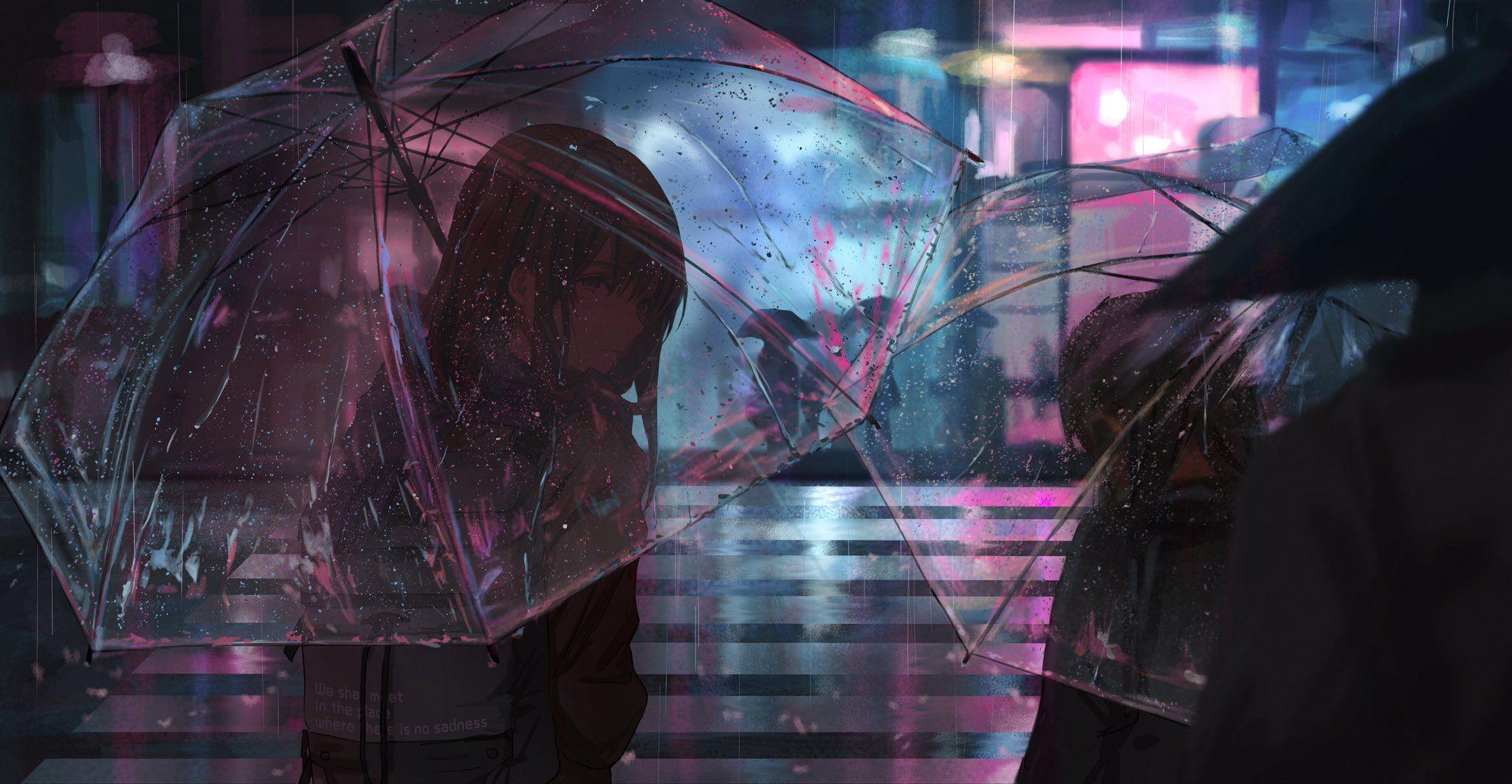 のでcatzz on Anime scenery, Girl in rain, Rain wallpapers