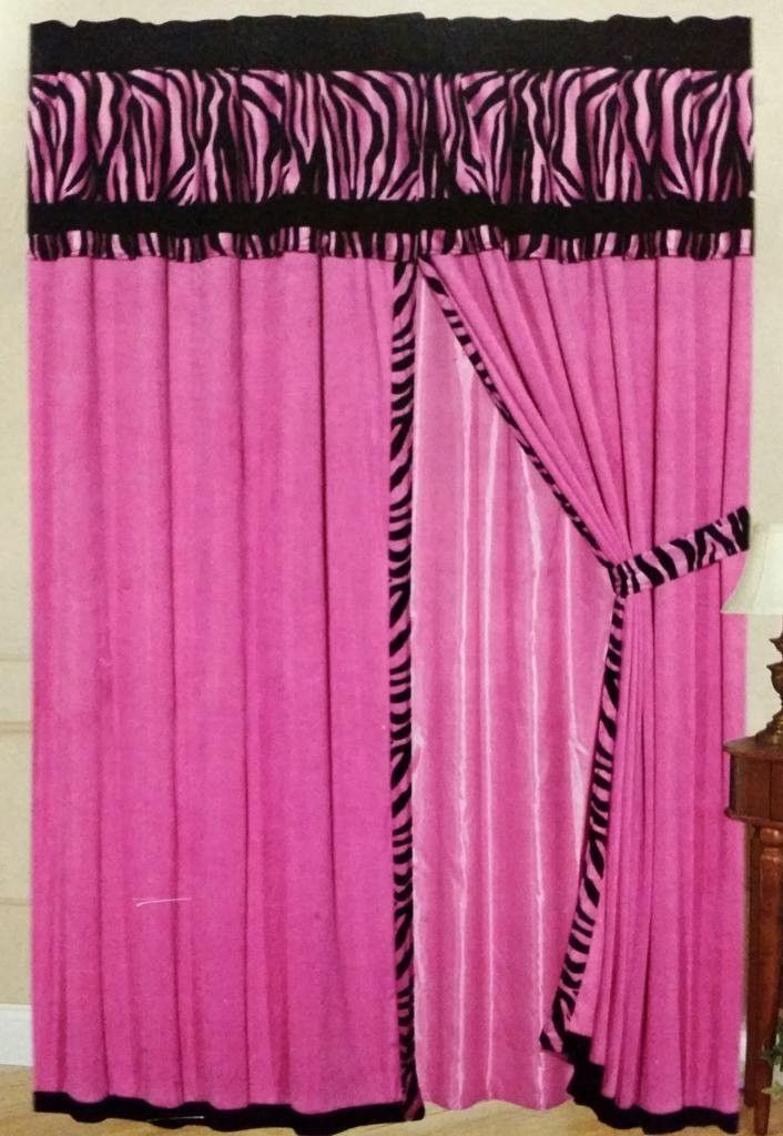 Thermal 8 Piece Pink Zebra Micro Fur Curtain Set Curtain Set
