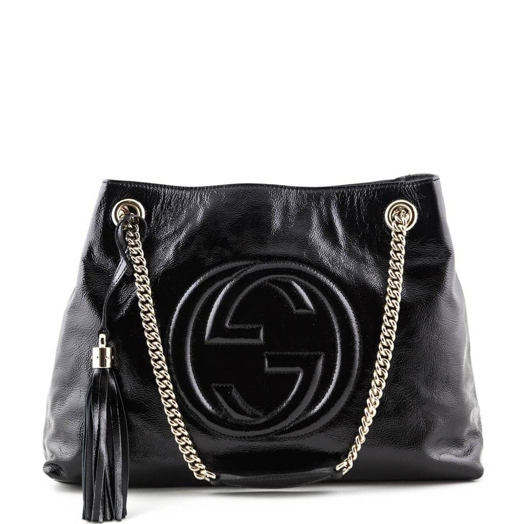 b0ef5f144896 Gucci Black Patent Medium Soho Chain Bag - LOVE that BAG - Preowned  Authentic Designer Handbags