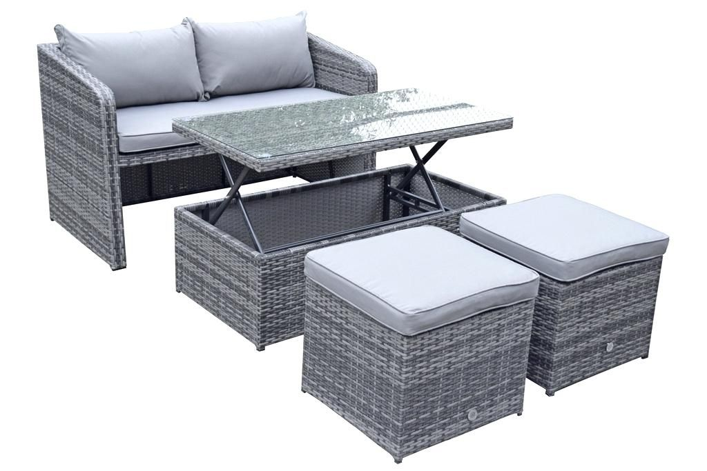 Compact Rattan Bistro Balcony Outdoor Garden Patio Set Furniture