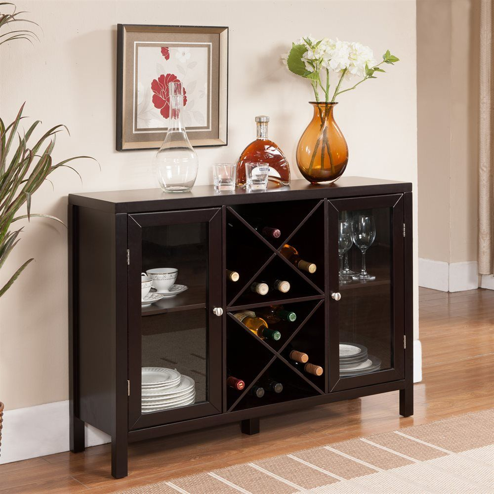 Storage Compartment Where You Can Place Wine Bottles And Two Side Glass Doors To Glasses More This Estate Espresso Cabinet Will