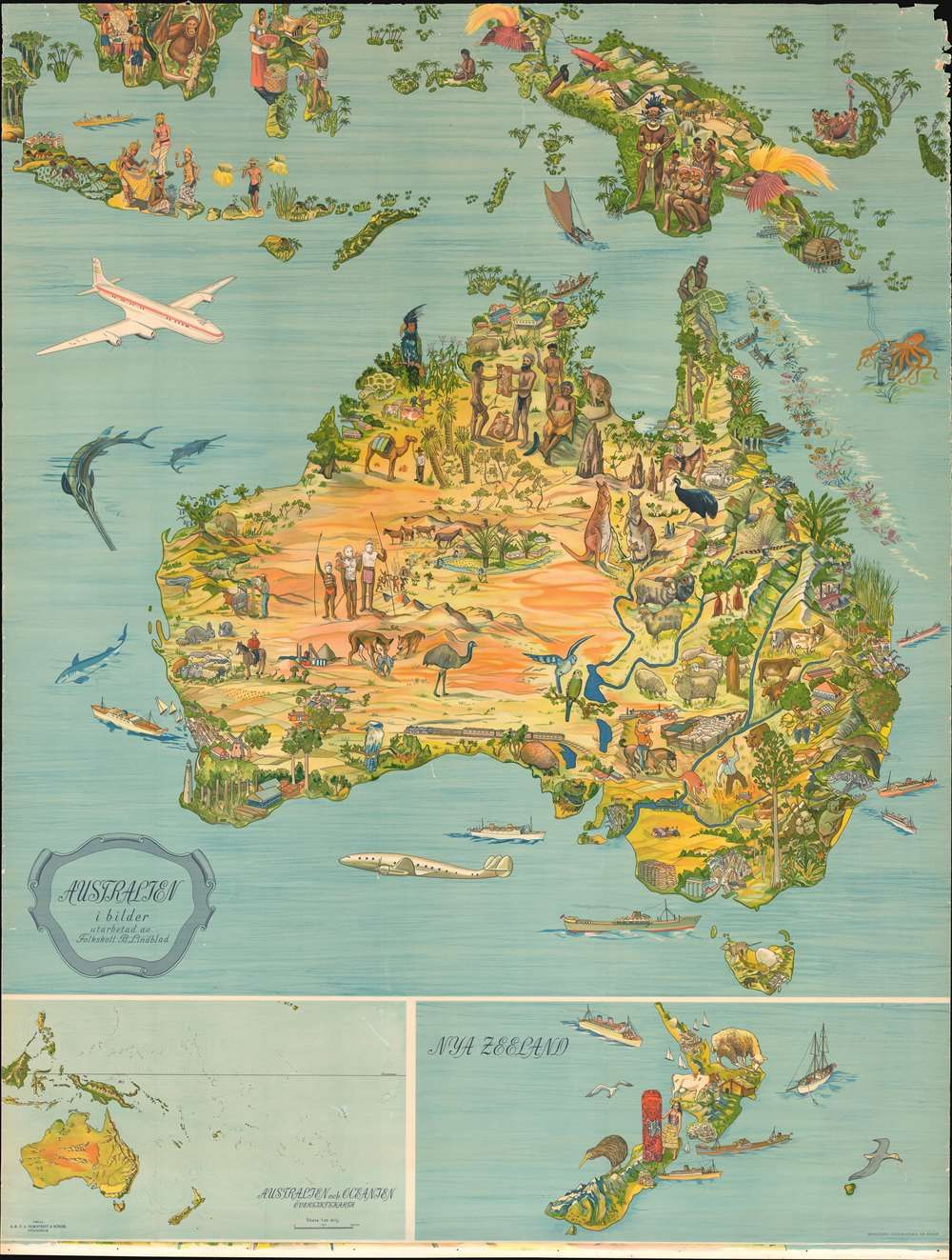 Map Of Australia Nz.1947 Lindblad Pictorial Map Of Australia New Zealand And Indonesia