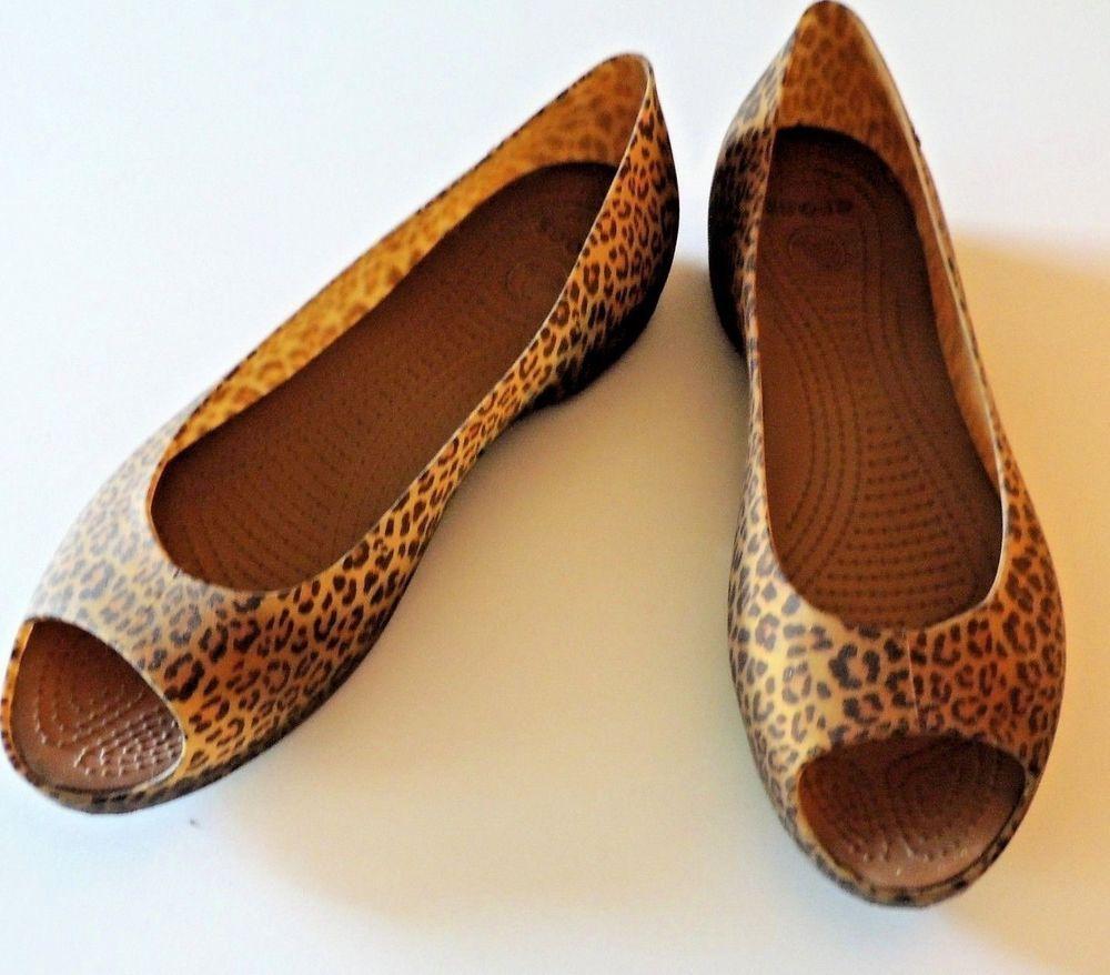 b62a572847af Crocs Women size 9W Rubber Ballet Flats Leopard Print Shoes  Crocs   BalletFlats