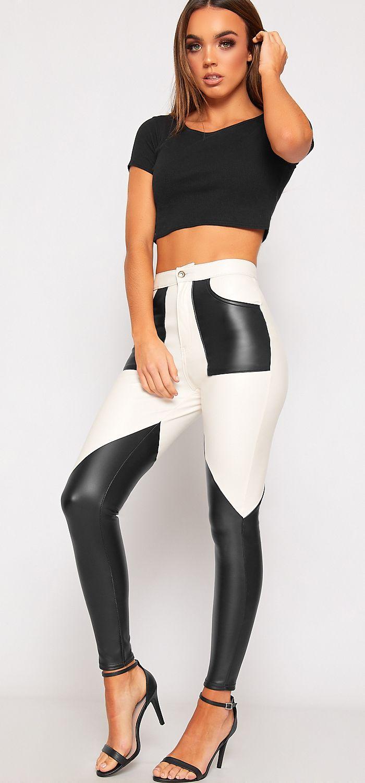 15e4eff1f757a1 Paige Contrast Panel Faux Leather Trousers   Leggings / Jeggings