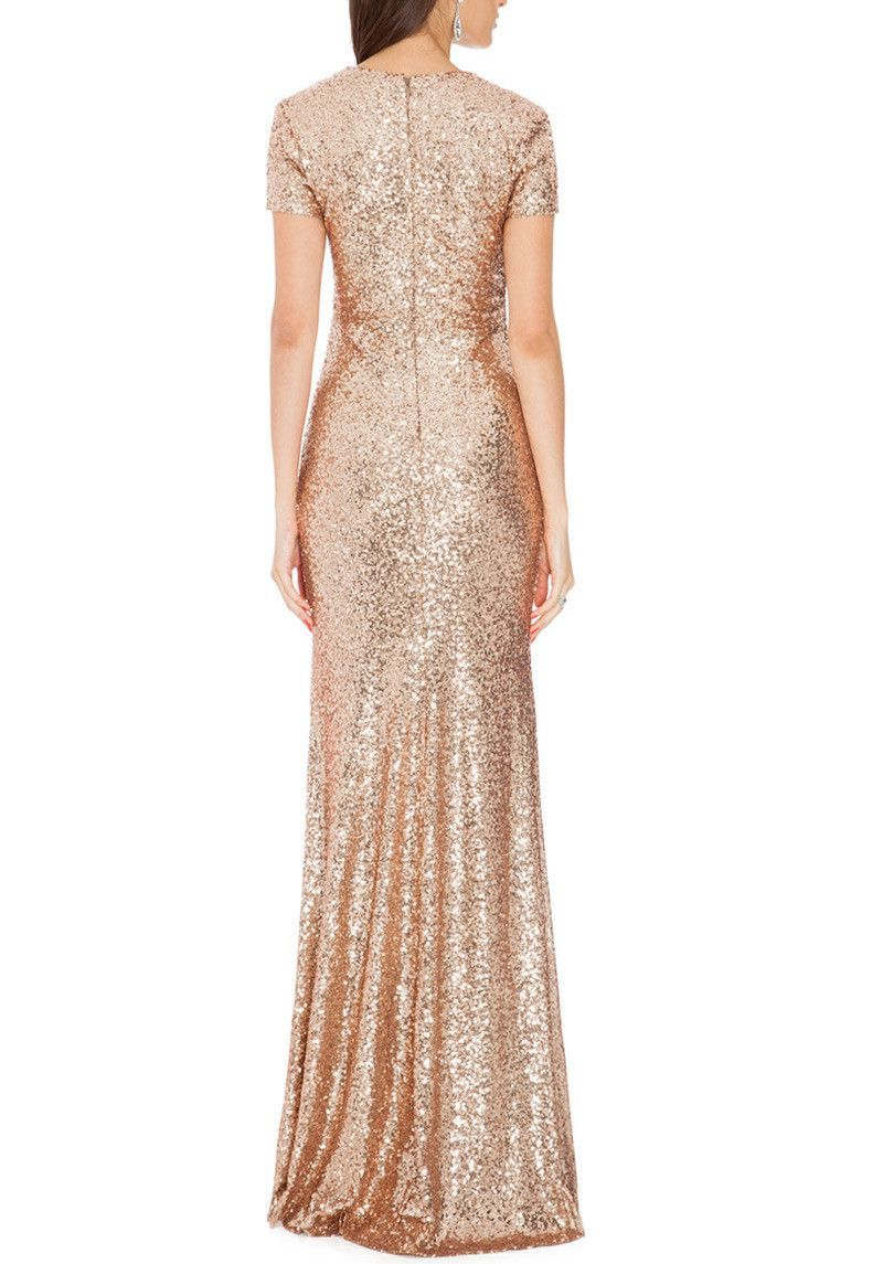 Delilah Champagne Sequin Gown | Gold sequin gown, Sequins and Gowns