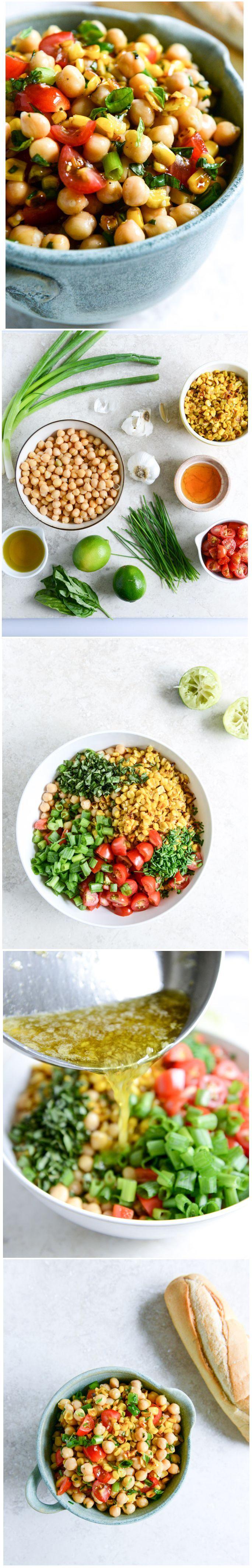 Summer Chickpea Salad with Honey Garlic Lime Vinaigrette