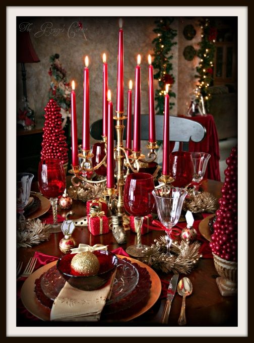 Christmas Tablescape In Red And Gold Blogger Wrote It All Started With The Brass Candelabra I Won On Ebay For 10 The Red Christmas Tablescapes Christmas Table Decorations Christmas Decorations